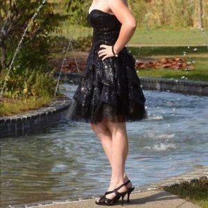Betsy Johnson blk strapless sequin ruffle dress 4
